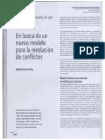 Garcia Peña en busca de un modelo para la resolucòn de conflictos
