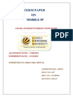 TERM PAPER. on MOBILE IP