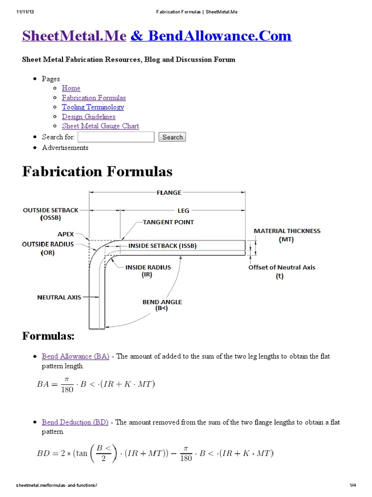 Fabrication Formulas Sheetmetal Pdf Sheet Metal Crafts