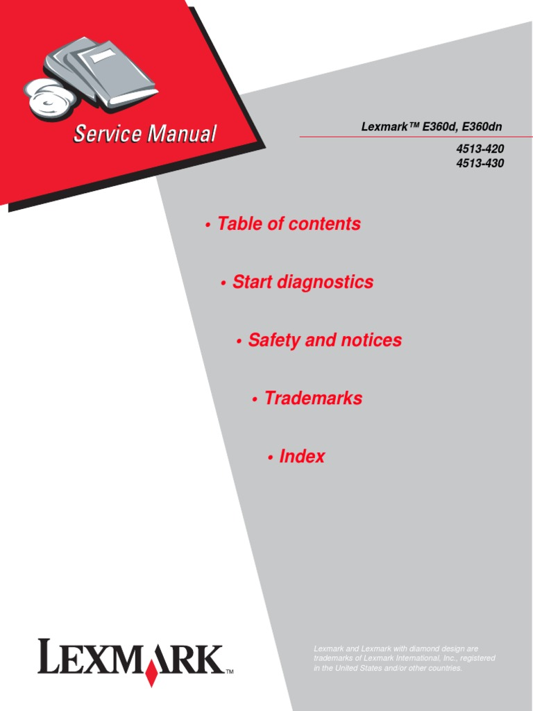 lexmark e360d e360dn 4513 420 4513 430 service parts manual