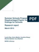 summer schools - key findings for schools