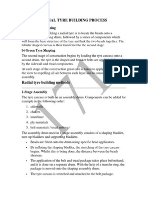 Radial tyre building process pdf | Tire | Industries