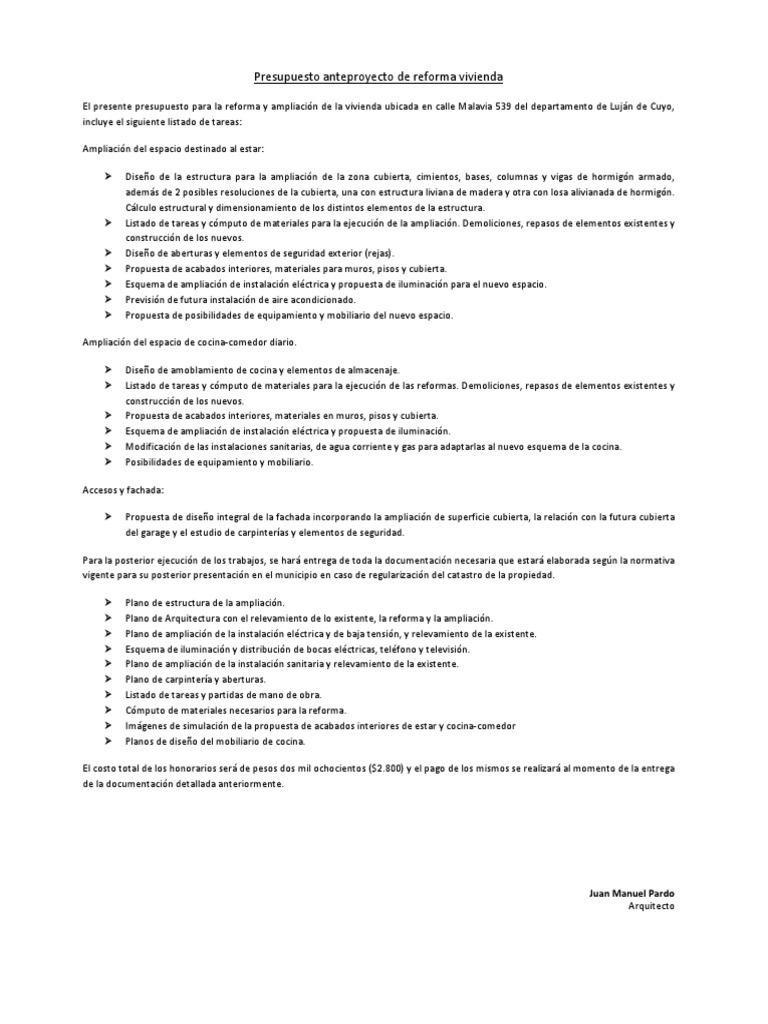 Presupuesto Reforma Integral Vivienda Gallery Of Presupuesto  ~ Ejemplo Presupuesto Reforma Vivienda