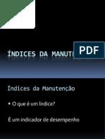 ÍNDICES DE MANUTENÇÃO - PROF. David