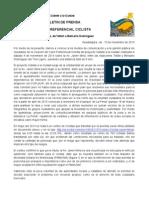 Boletín de prensa Carril Preferencial Ciclista Oriente