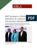 10-11-2013 Milenio.com - RMV Promueve a Puebla Ante Operadores de Congresos y Convenciones Internacionales
