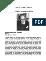 Gomez Davila Nicolas - Escolios a Un Texto Implicito