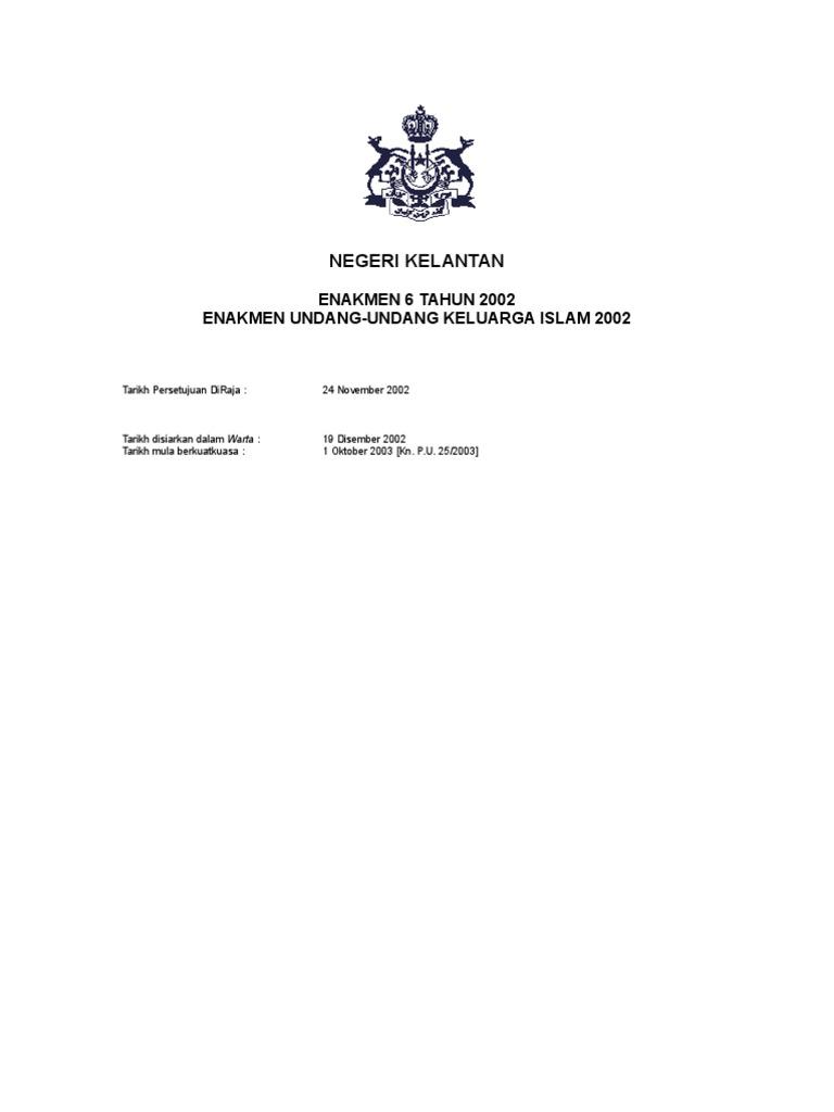 Enakmen Undang Undang Keluarga Islam Kelantan 2002