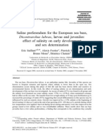 Saline Preferendum for the European Sea Bass, Dicentrarchus Labrax, Larvae and Juveniles Effect of Salinity on Early Development and Sex Determination,