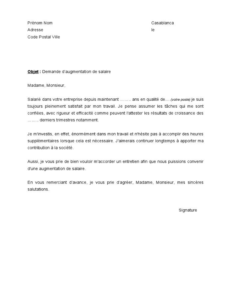 Modele De Lettre Demande Augmentation Salaire Vinny Oleo Vegetal