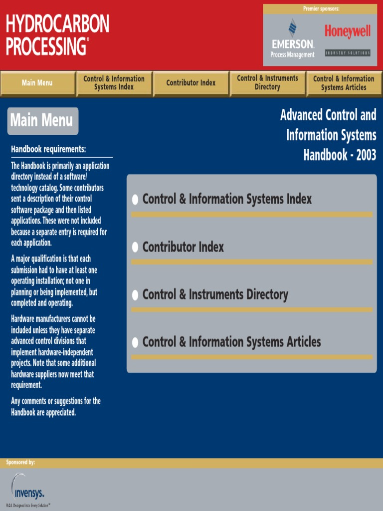 Advanced Control and Information Systems Handbook - 2003