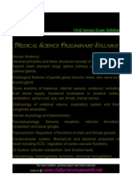 Medical Science Preliminary syllabus