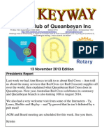 The Keyway - 13 November 2013 Edition - Weekly newsletter for the Rotary Club of Queanbeyan
