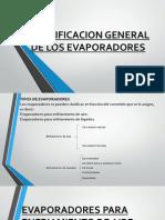 Clasificacion General de Los Evaporadores