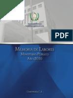 Memoria de Labores Mp 2010