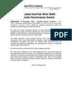 SGX-Listed InnoTek Wins SIAS Corporate Governance Award