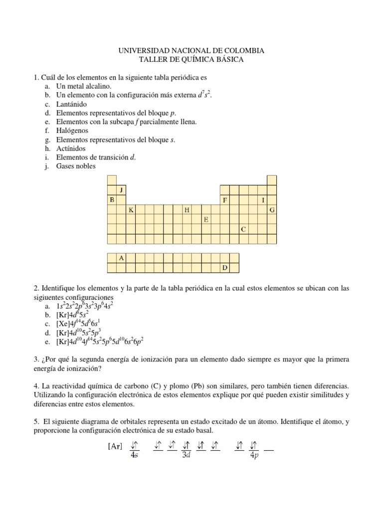 Tabla periodica de los elementos quimicos distribucion electronica taller 2 tabla peridica enlace qumico geometra molecular 1 urtaz Image collections