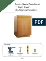 Bamboo Natural Base Cabinet Assembly Instructions