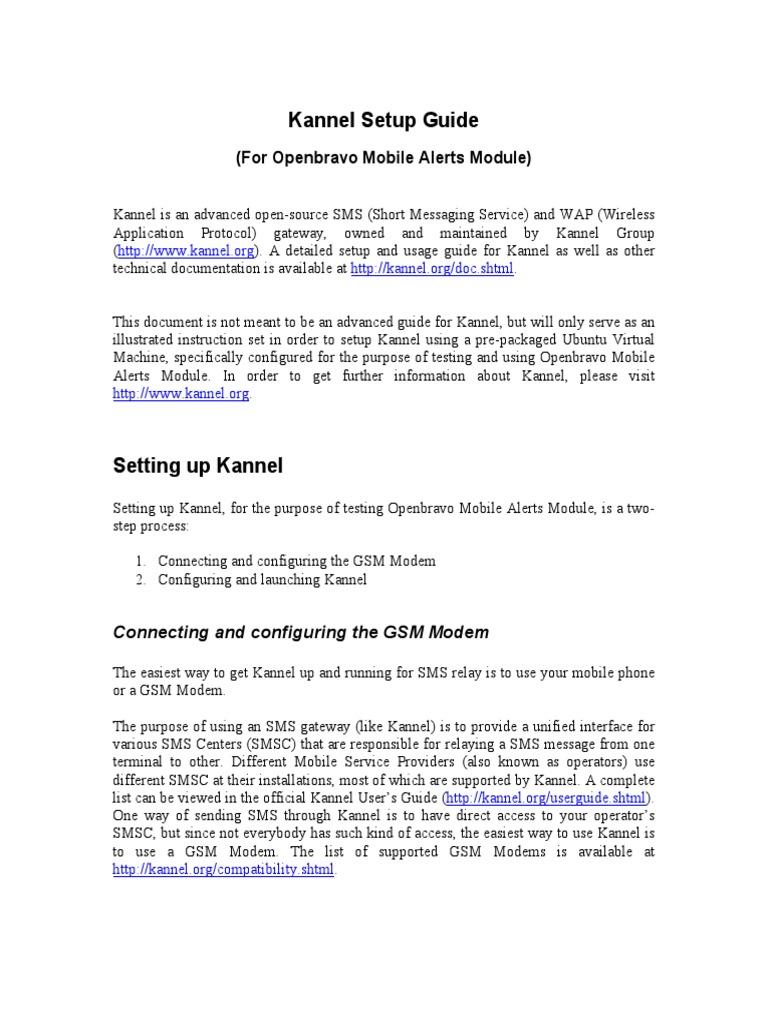 Kannel Setup Guide pdf   Servicio de mensajes cortos   Módem