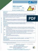 """""""RGIE & incendie"""" - Modification des articles . . . , 104, . . .  (le 27 novembre 2013)"""
