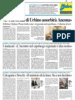 """""""Urbino assorbirà Ancona"""". Pivato bolla come """"leggenda metropolitana"""" la notizia circolata ieri - Il Resto del Carlino del 9 novembre 2013"""