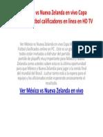 Ver México vs Nueva Zelanda en vivo Copa Mundial de Fútbol calificadores en línea en HD TV
