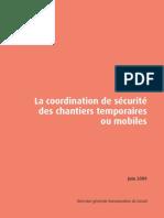 brochure La coordination de sécurité des chantiers temporaires ou mobiles