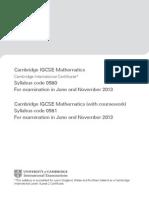Edexcel iGCSE Mathematics Syllabus 2013