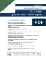 JTI-UBH VOL 1 -  Cover Dalam Jurnal Vol2 Desember 2012