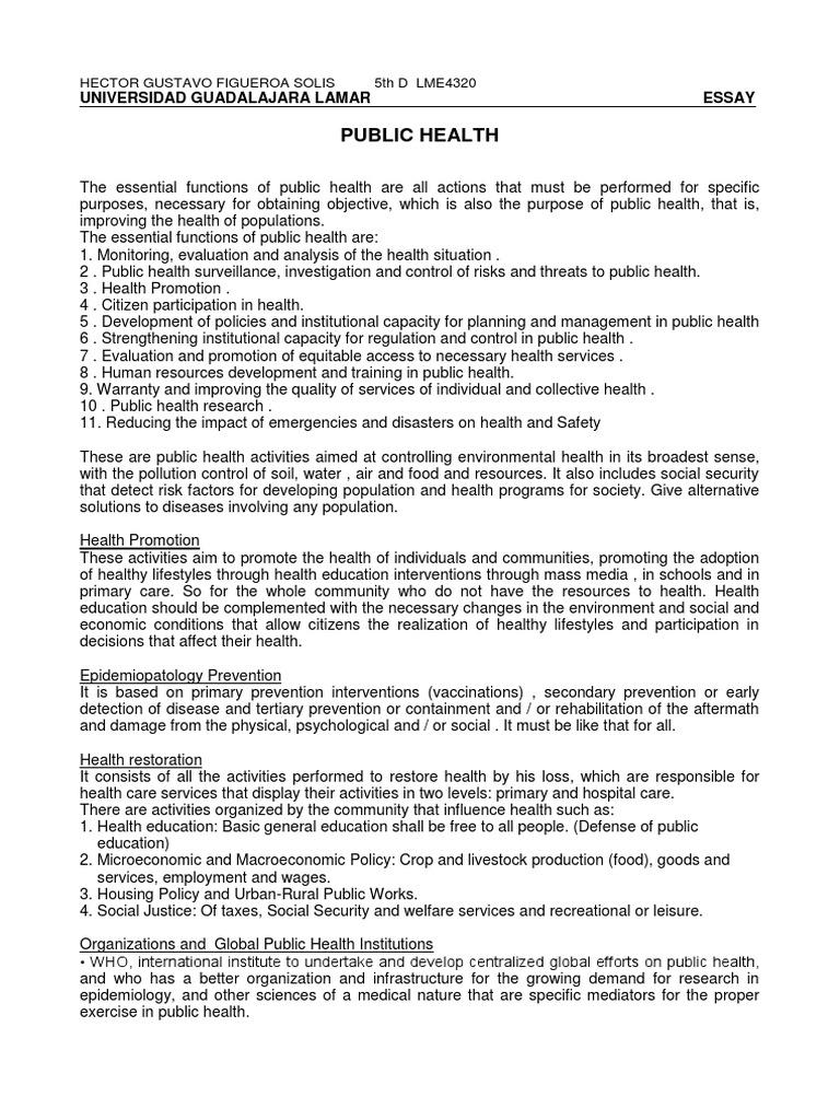 public health essay  public health  preventive healthcare