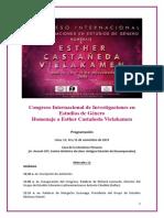 PROGRAMA DEL CONGRESO INTERNACIONAL DE INVESTIGACIONES EN ESTUDIOS DE GÉNERO HOMENAJE A ESTHER CASTAÑEDA VIELAKAMEN