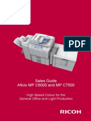 MP C6000 C7500 Ricoh Sales Handbook | Fax | Email