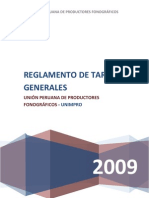 UNIMPRO, REGLAMENTO DE TARIFAS GENERALES 2009