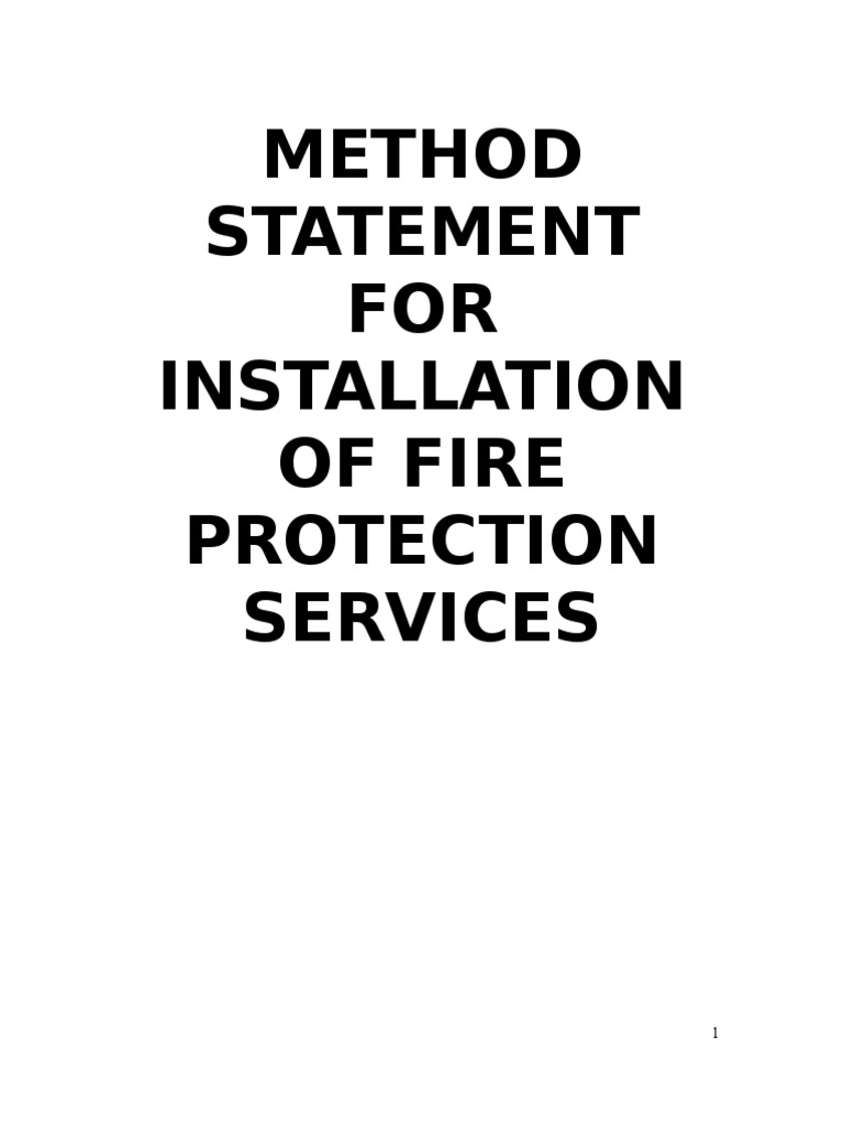 Work Method Statement For Fire Protection | Pipe (Fluid Conveyance .  Method Statement Template Doc