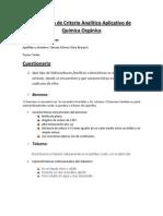 Evaluación de Criterio Analítico Aplicativo de Química Orgánica