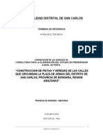 Tdr - Pistas y Veredas Plaza de Armas San Carlos Bongara