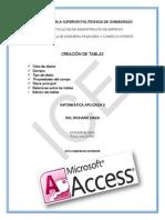 Creacion de Tablas en Access