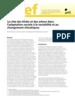 Le rôle des forêts et des arbres dans  l'adaptation sociale à la variabilité et au  changement climatiques