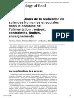 Les conditions de la recherche en sciences humaines et sociales dans le domaine de l'alimentation_ enjeux, contraintes, limites, enseignements