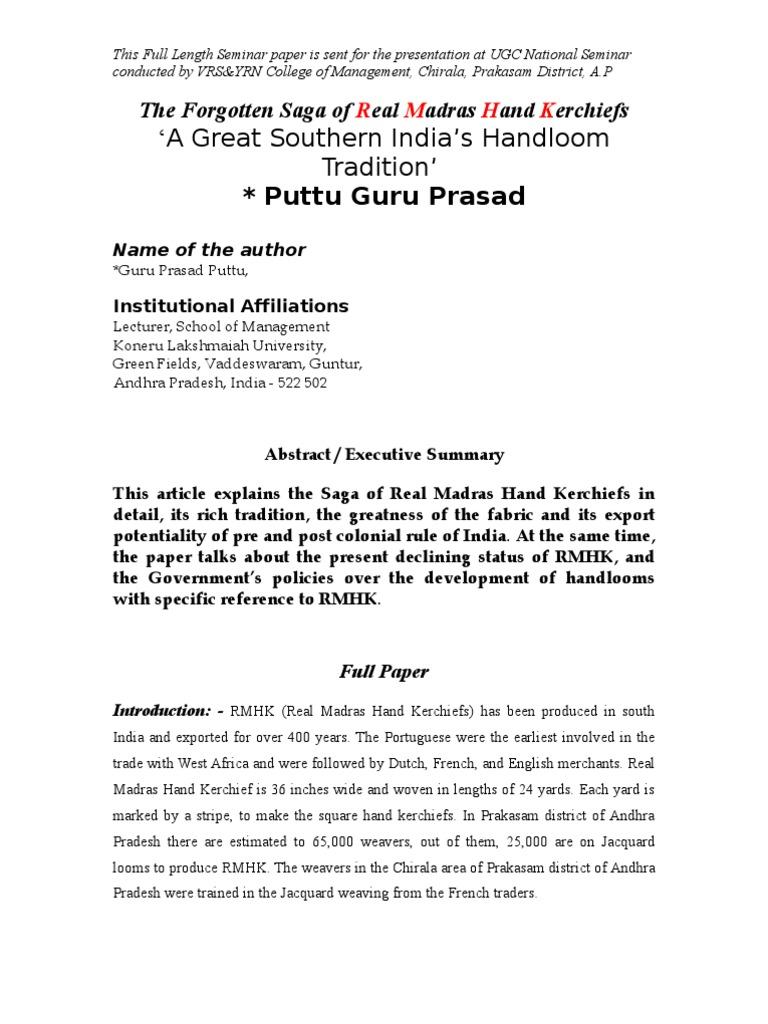 real madras handkerchiefs, the forgotten saga of RMHKFull Paper on