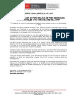 Ministro Pedraza Dispone Relevo de Tres Generales, Dos Coroneles y Un Comandante de La PNP