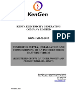 KGN HYD 32 2013 Tender for Supply, Installation and Commissioning of an Incinerator in Eastern Hydros