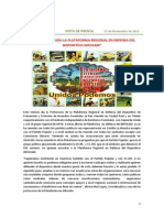 """Nota Prensa 13.11.13 """"MÁS APOYOS PARA LA PLATAFORMA REGIONAL"""