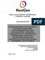 KGN OLK 94 2013 Tender for Supply of Two 250 KVA Electric Generators Containerized in One 40-Ft Lockable Steel Container Complete With a Common Load Distribution Panel