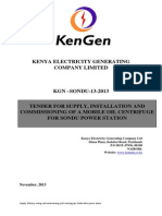 KGN SONDU 13 2013 Tender for Supply, Installation and Commissioning of a Mobile Oil Centrifuge for Sondu Power Station