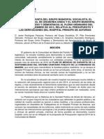 Moción de PSOE-IU-UPyD relativa al presupuesto y las derivaciones en el Hospital