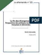 LA FIN DES DIVERGENCES ? Perspectives des politiques économiques françaises et allemandes