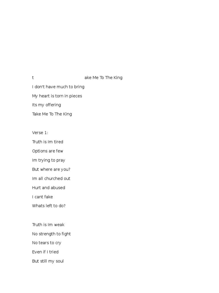 Take Me To The King Sing   PDF