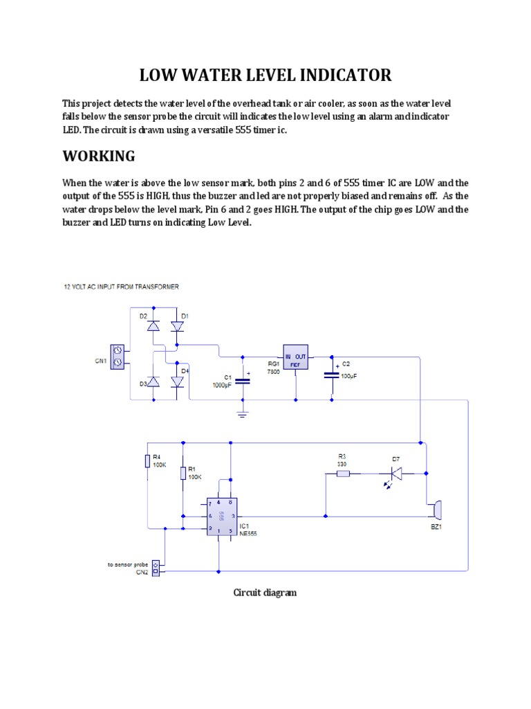 Low Water Level Indicatordocx Diode Relay 555 Timer Ic Internal Structure Working Pin Diagram And Description