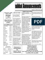 Shabbat Announcements, August 15, 2009